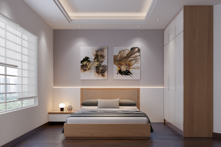 Renovated Bedroom with inset lighting on the ceiling and a minimalist feel