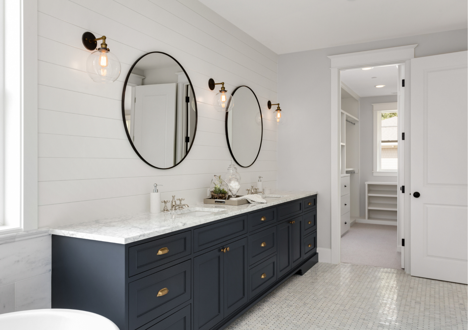 Luxury Modern Bathroom with Navy Cabinets