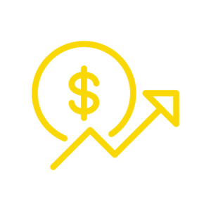 icon of arrow pointing in an upward trend and a dollar sign behind it