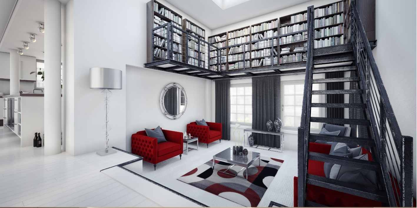 White Lounge Room Renovation with a white and black theme and a loft library