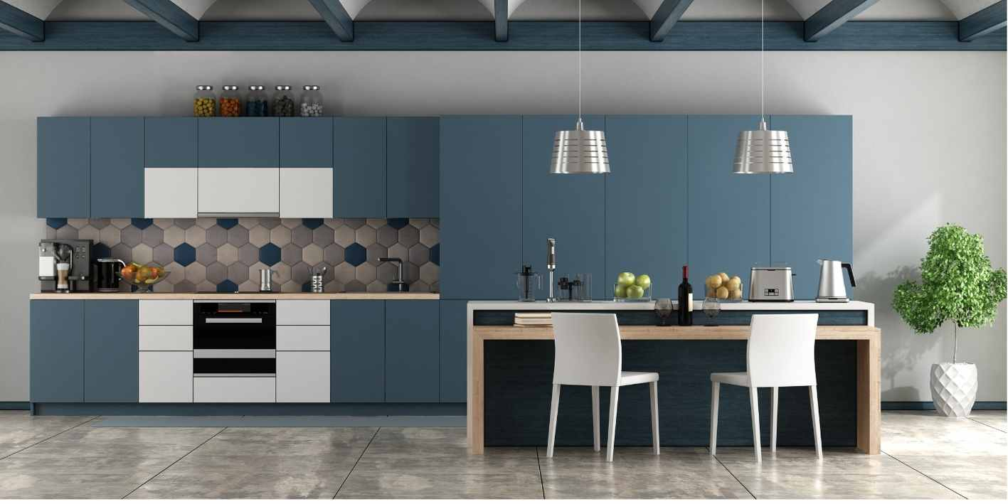 Teal Blue Coloured Kitchen Renovation with White accents and pendant lights