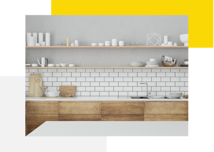 Kitchen Renovation with Subway Tiles contrasted with natural timber cabinets and shelving