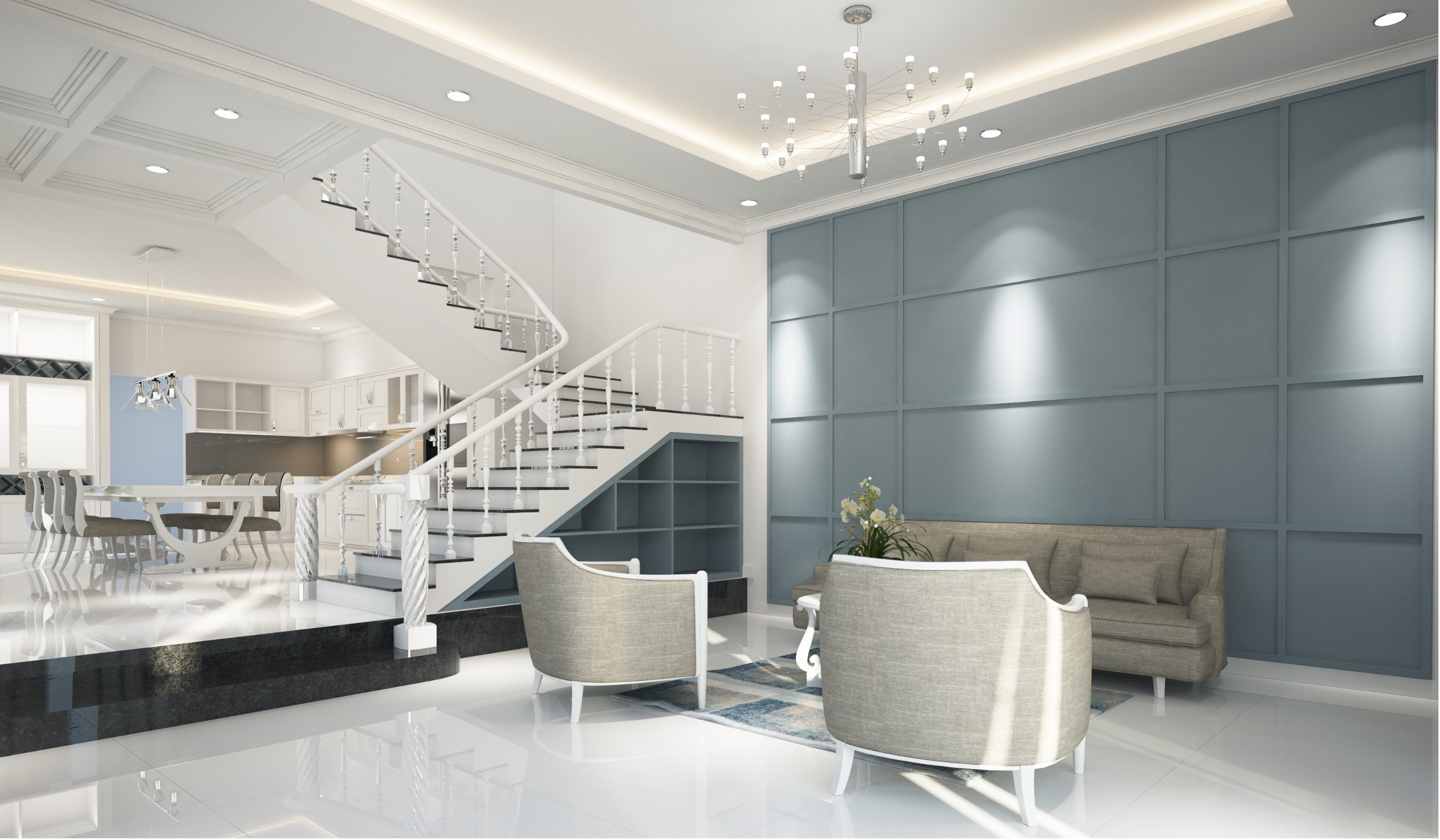 Home Renovation of kitchen and lounge room in a blue grey, steel grey, white and black tones