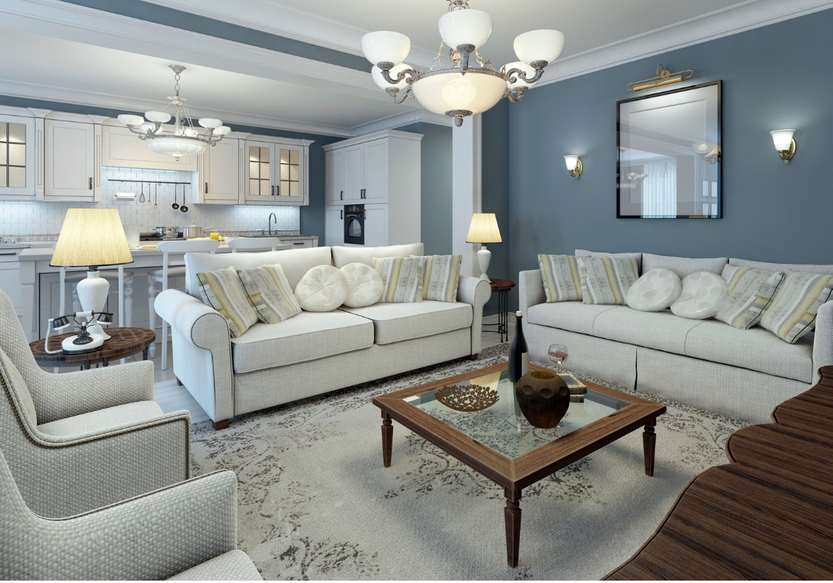 COMPLETE HOME RENOVATION, PREMIUM BLUE GREY WALLS AND A CLASSY COSY LOOK WITH WHITE COUCHES.