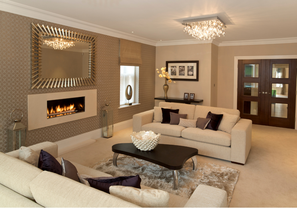 DELUXE HOME RENOVATION WITH MODERN WALL FIREPLACE, WHITE COUCHES IN TAN COLOUR THEME